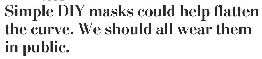 Aktikel in der Washington Post zum Nutzen von DIY Masken